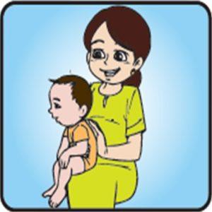 cara sendawakan bayi dalam posisi tangan / riba